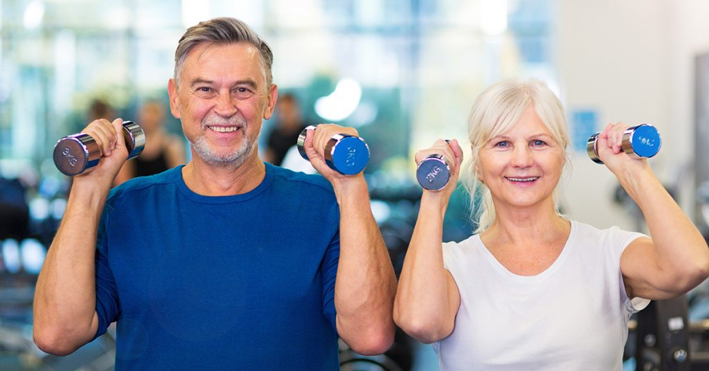 Mature couple exercising Club Active